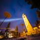Lichtinstallation beim schiefen Turm von St.Moritz. Im Rahmen der «FIS Alpinen Ski WM St.Moritz 2017» lassen wir wir St.Moritz scheinen und schicken gemeinsam das Licht in die Welt. St.Moritz, Oberengadin, Engadin, Graubünden, Schweiz, Switzerland
